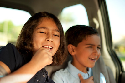 Rockin' out in the van, on the way to school.