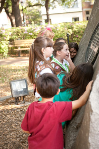 Girl Scout Scavenger Hunt - The girls were supposed to run around the Tomo Chi Chi rock three times, then write down 'what it said.' (Get it?)