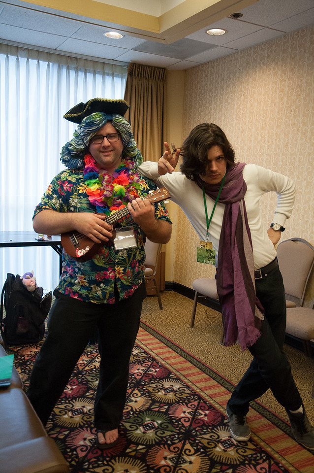 These two were practicing MLP songs from the show to perform around the hotel as buskers. Please see the accompanying videos to get a full flavor of the spirit and energy of this Convention.