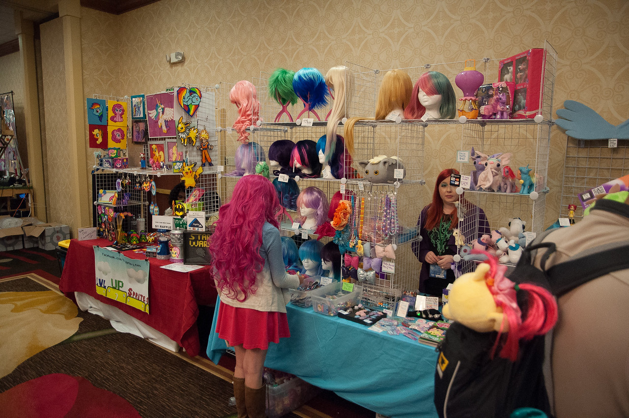 This is the Vendors' Hall. The kids made two trips here and carefully considered which swag to purchase.