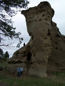 Patrick, Katie, Jenny climbing at Medicine Rocks State Park near Ekalaka, Montana