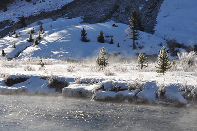 Crisp morning with heavy frost and water evaporating off the river. Peace like a river in my Soul. Between Big Sky & West Yellowstone, Montana. 3.10