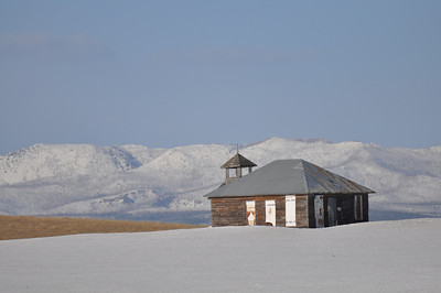 Old school house outside West Yellowstone, Montana. 4.10