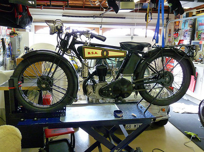 1927 BSA Model B Deluxe on the bench