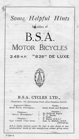 1927 BSA book cover