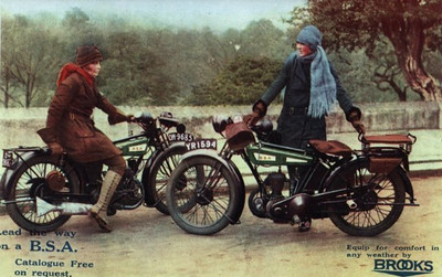 Period ad featuring two 1927 BSA Model B's & Nancy and Betty Debenham, famous BSA racer/riders from the 20's.