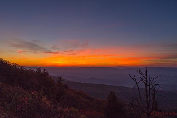 Shenandoah National Park Western Overlook Sunset Late - L10