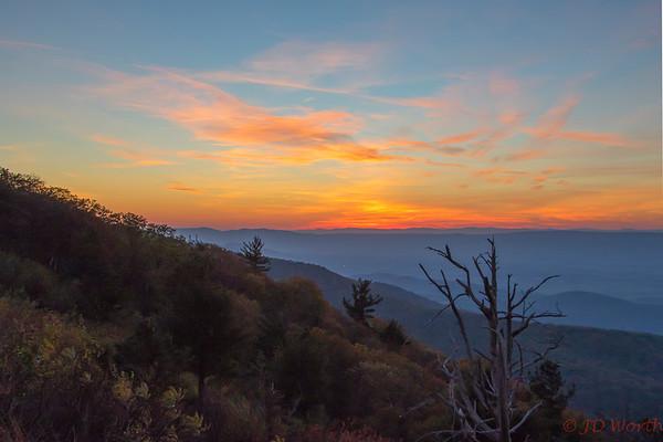 Shenandoah National Park Western Overlook Sunset - L9
