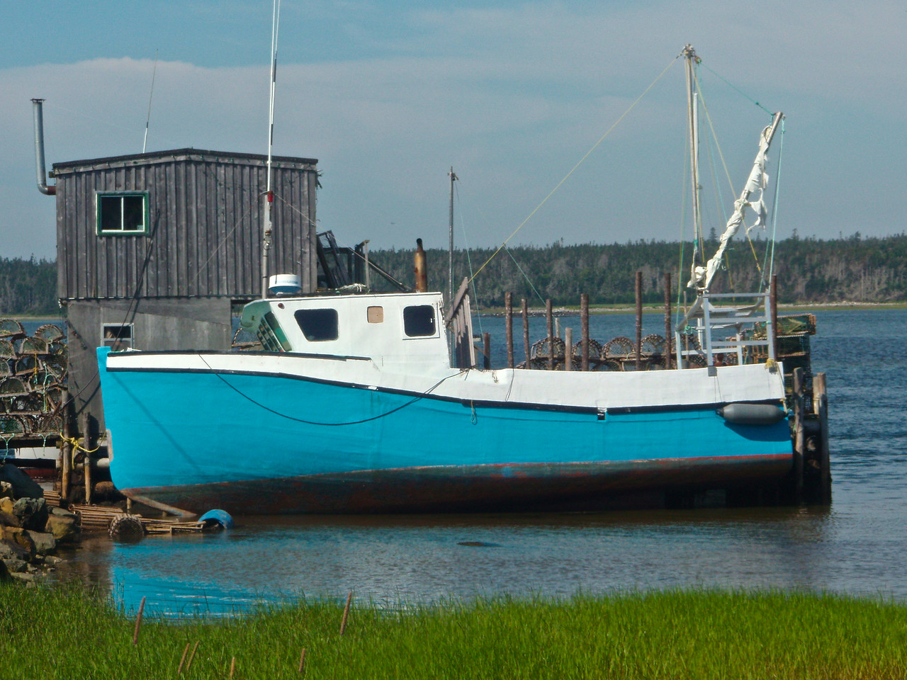 Careened Lobster Boat