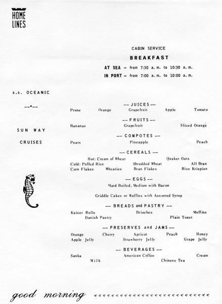 1979 cabin breakfast menu - SS Oceanic