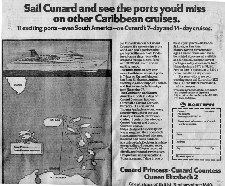 Cunard & Eastern Airlines Philadelphia Inquirer ad 5/20/79
