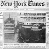 Sunday August 9, 1992 cover<br /> Rich Wagner says 3/20/13:  Yes. I was there. I may even be in that photo. There was a feeling of some sadness as we abandoned the ship since it was unclear whether the ship could recover from this incident. It was apparent that it would be costly to repair her and that she would miss some crossings and cruises. Even before the accident, QE2's future was somewhat uncertain. As they said in one television special in those day, she was a ship running for her life.