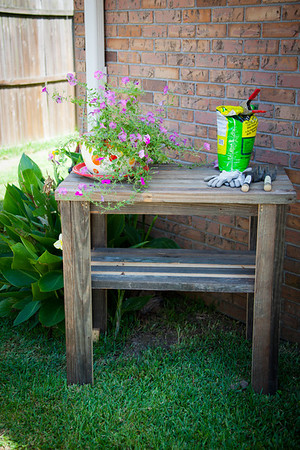 Potting table made from old barn lumber.