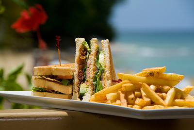 Beachside dining in Barbados
