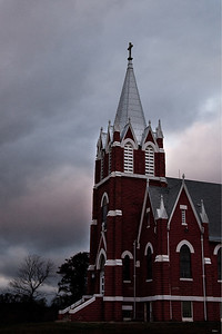 Peace Lutheran Church with Storm Clouds