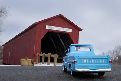 58 Chevrolet Pickup on Zumbrota Covered Bridge_120817_9829