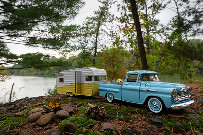 The '56 and Shasta Camper at Carson Park