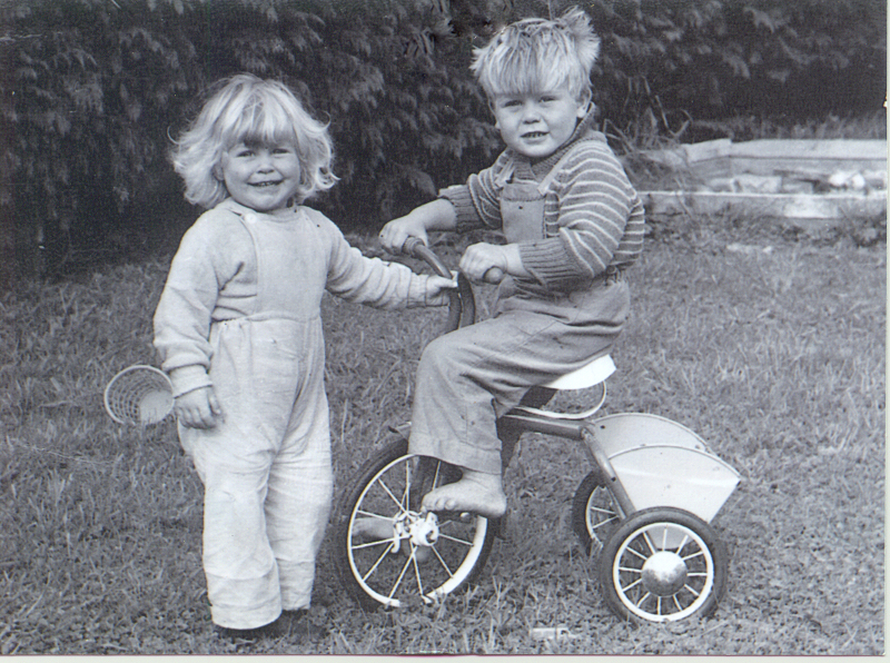 Kim and Anthony at our house at the farm with the sandpit in the background guess around 1965. (Only 23 years to go to Seoul Olympic Games!)