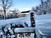 Ice blue ~ side porch, sloping yard
