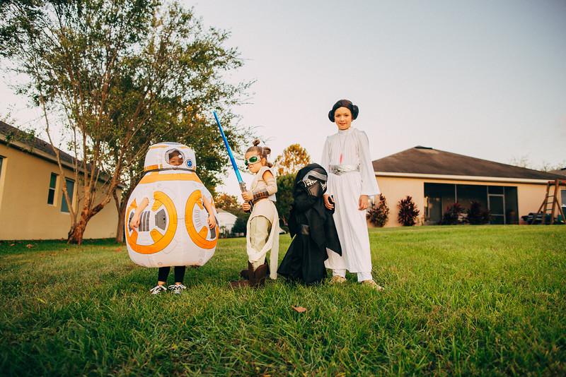 BB-8, Rey, Kylo Ren and Princess Leia