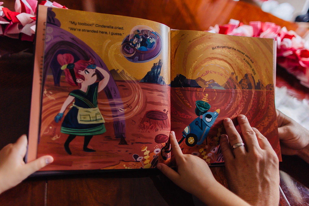 Me: Were you worried about Cinderella here?<br /> <br /> Jovie: Yeah, because she won't have a rocket ship! She lives in outer space and her sisters might destroy her ship. <br /> <br /> Me: I think Murgatroyd might have helped her, is that right?<br /> <br /> Jovie: Yep.