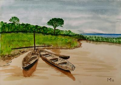 Dugouts on Amazon River in Peru