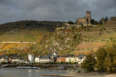 Several castles and villages overlook the Rhine River in Germany