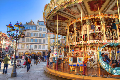 Carousel in a lovely square in Strasbourg, France