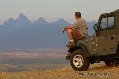 """I drove my Dad up a very rough trail to this overlook on the west side of Teton Valley.  I set this shot up as a possibility for a photo contest where the theme was """"freedom."""""""
