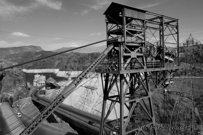 This is one of the old cable crane structures behind Hoover Dam on the Colorado River in Nevada.
