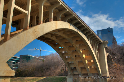 North Main Street Bridge over the Trinity River in downtown Fort Worth, Texas.