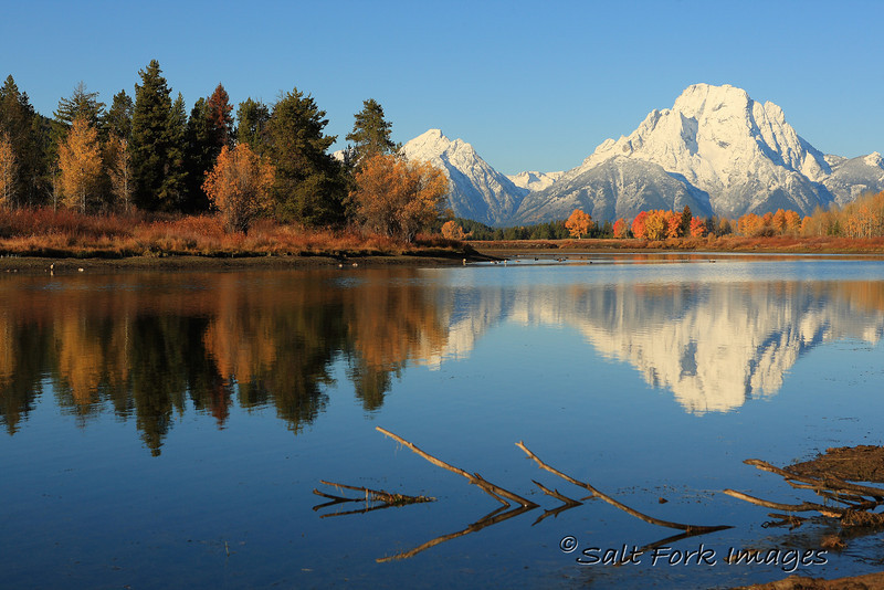 Mt. Moran and fall colors reflected in Oxbow Bend Lake.  Grand Teton National Park, Jackson Hole, Wyoming.