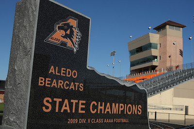 A quiet moment in Bearcat Stadium.  Aledo High School.  Aledo, Texas.