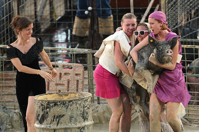It's important to dress up for Pig Wrestling at the Teton County Fair.  Jackson, Wyoming.