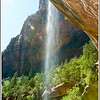 A waterfall cascades over an overhang in Zion National Park at the Upper Emerald Pool