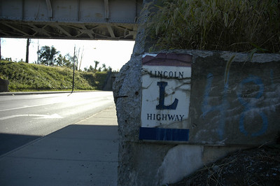 Lincoln Highway marker on RR viaduct on east side of Bucyrus
