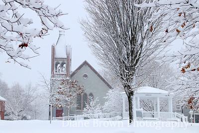 Danville Green in Snow