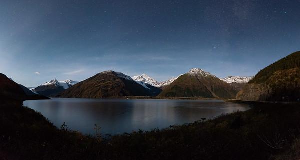 Moon lit Portage lake