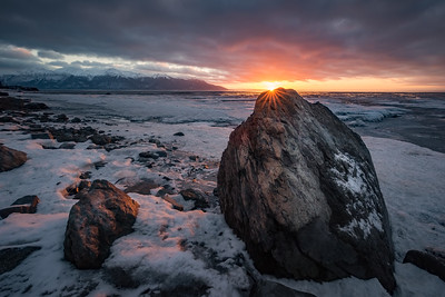 Alaskan beach sunset