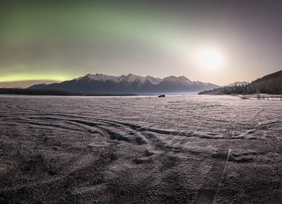 The cold frosted banks of the Knik river resemble a cold barren wasteland.