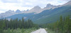 Looking north on the Icefield Parkway in Banff NP Alberta.
