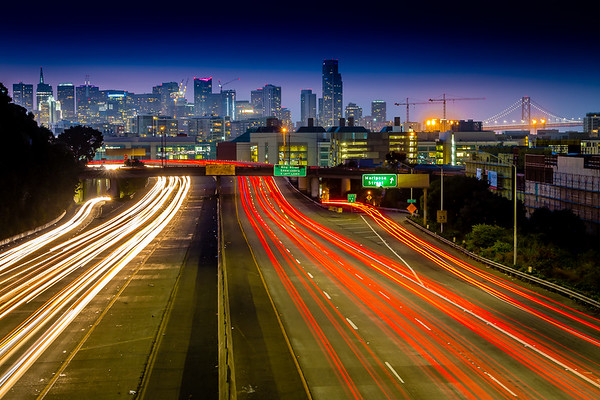 San Francisco Rush Hour on I-280N at Dusk