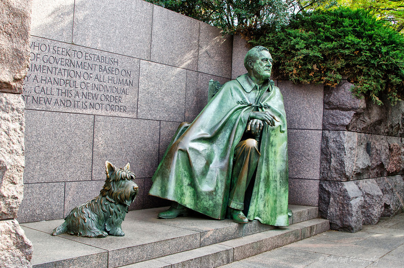 Fala and FDR<br /> Franklin Roosevelt Memorial<br /> Washington D.C.