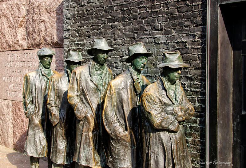 Bronze Men In Line<br /> Bronze figures at Franklin Roosevelt Memorial<br /> Washington D.C.