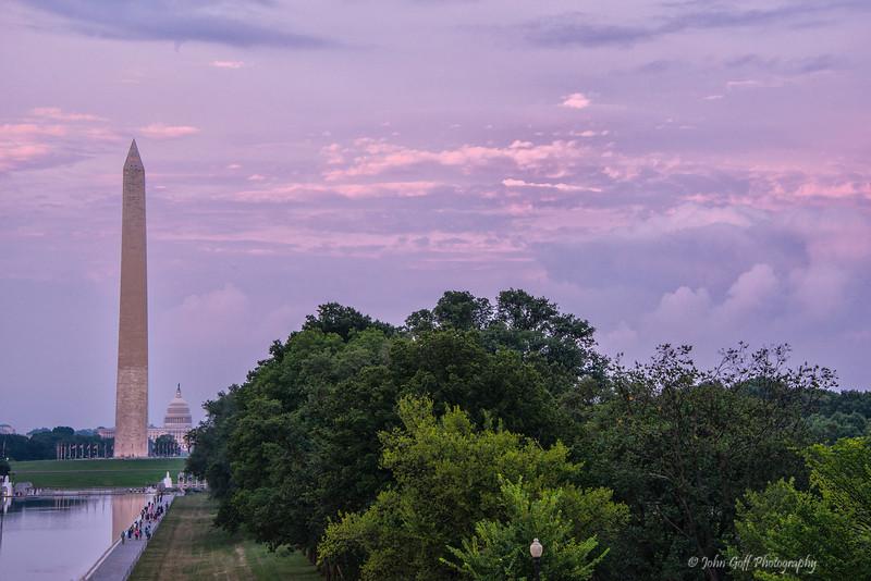 Pink Sky Over Washington<br /> Washington DC Monuments