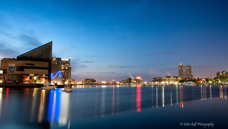 Blue and Red Reflections<br /> Baltimore Inner Harbor, Maryland