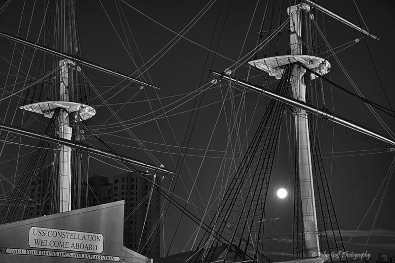 Super Moon Over The Constellation <br /> Baltimore Inner Harbor, Maryland