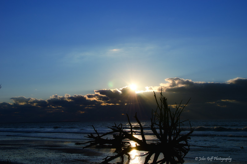 Sunrise Over A Beached Tree<br /> Botany Bay Plantation   <br /> Edisto Island,  South Carolina.