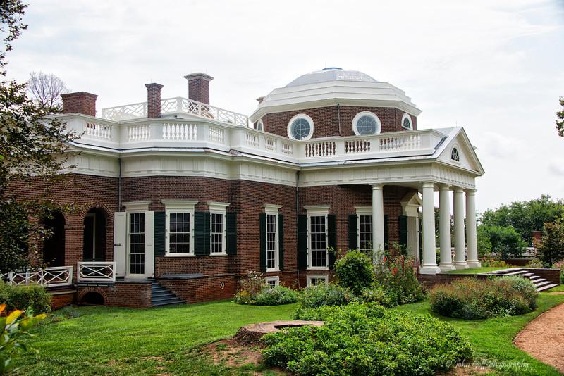 Monticello Side<br /> Plantation of Thomas Jefferson<br /> Charlottesville, Virginia