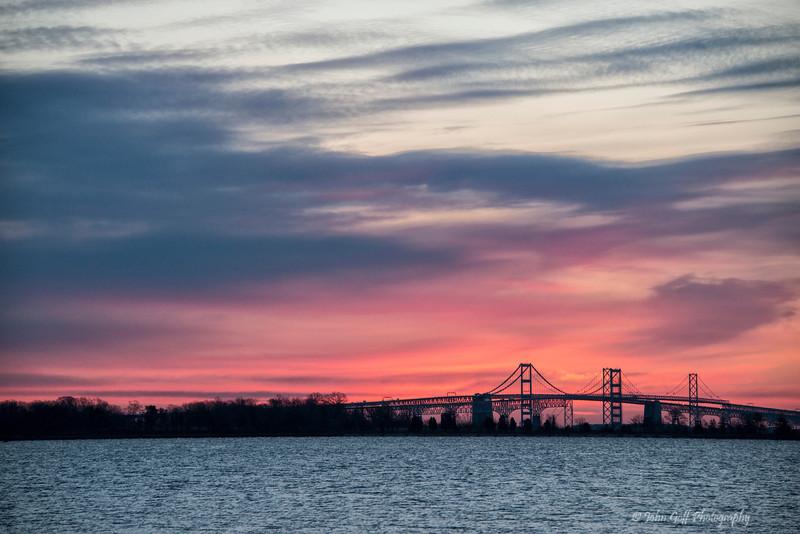 Morning at the Chesapeake Bay Bridge<br /> Sun Rise Over Chesapeake Bay Bridge<br /> Annapolis, Maryland